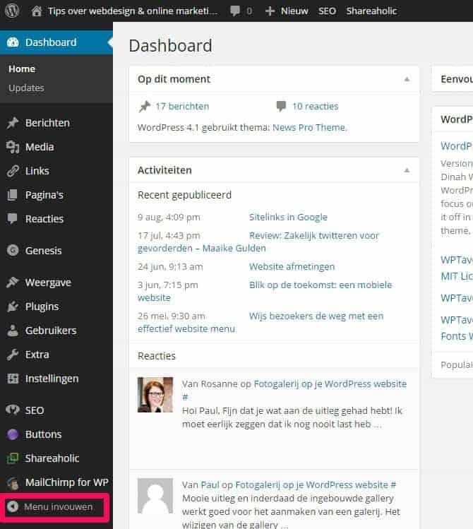 Wat Als Je Wordpress Dashboard Menu Verdwenen Is